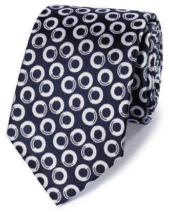 Cravate classique bleu marine et blanche en soie fil à fil à motif géométrique