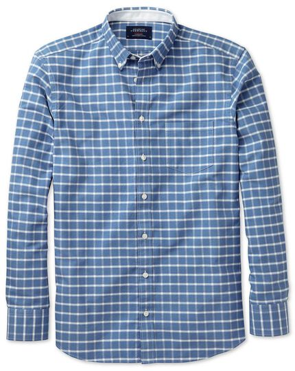 Slim fit blue and white check washed Oxford shirt