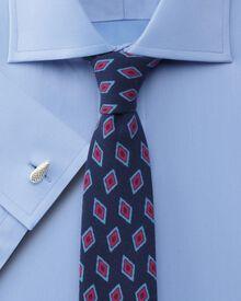 Extra slim fit semi-spread collar luxury twill sky shirt