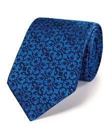 Blue silk luxury floral tie