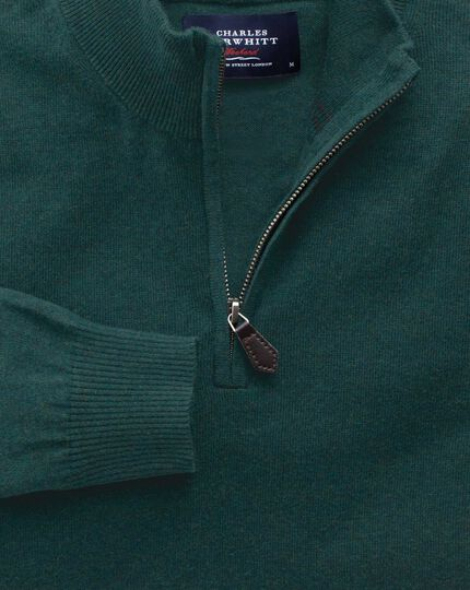 Mid green cotton cashmere zip neck jumper