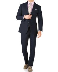 Navy stripe slim fit crepe business suit