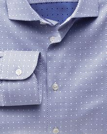Classic fit semi-spread collar business casual dark blue shirt