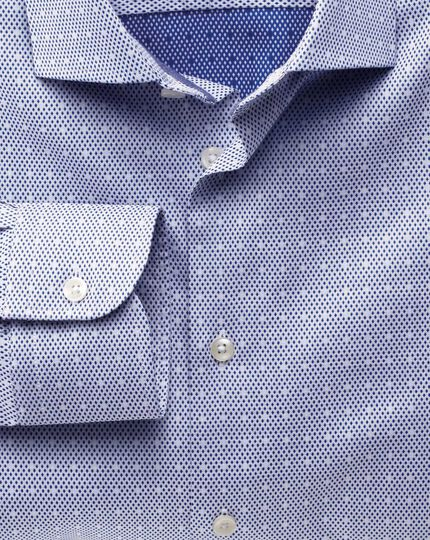 Classic fit semi-spread collar business casual dark blue shirt