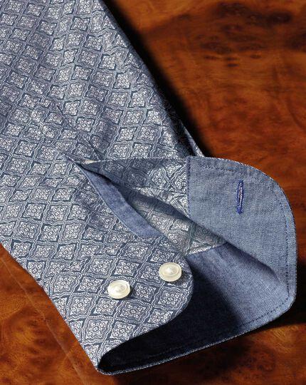 Extra slim fit light grey diamond print shirt