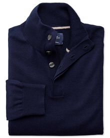 Navy merino wool button neck jumper