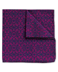 Pink silk floral luxury pocket square