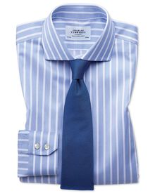 Slim fit cutaway non-iron Bengal wide stripe sky blue and white shirt