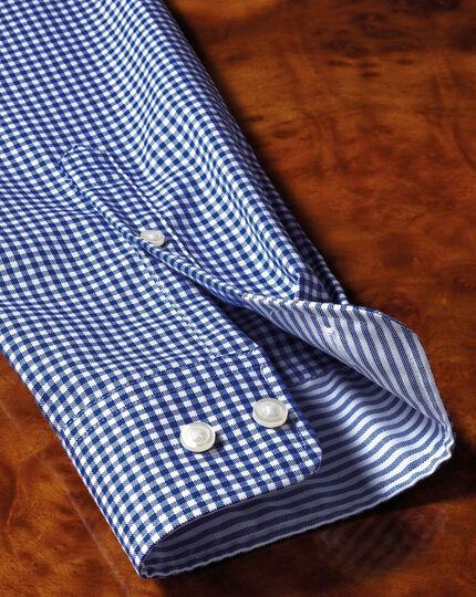 Classic fit button-down non-iron Oxford gingham royal blue shirt