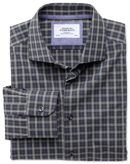 Slim fit semi-spread collar business casual melange navy and grey check shirt