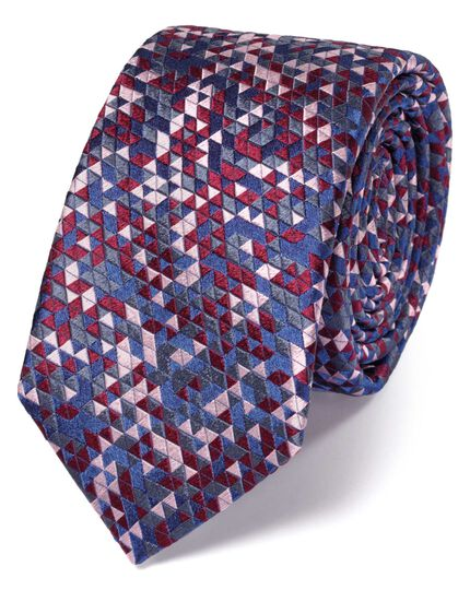 Slim pink silk triangle luxury tie