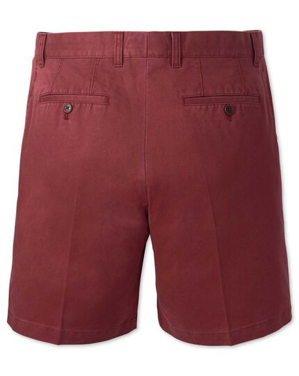 Red flat front chino shorts