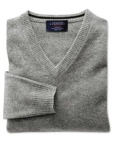 Silver grey cashmere v-neck sweater
