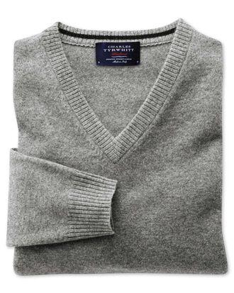 Silver grey cashmere v-neck jumper