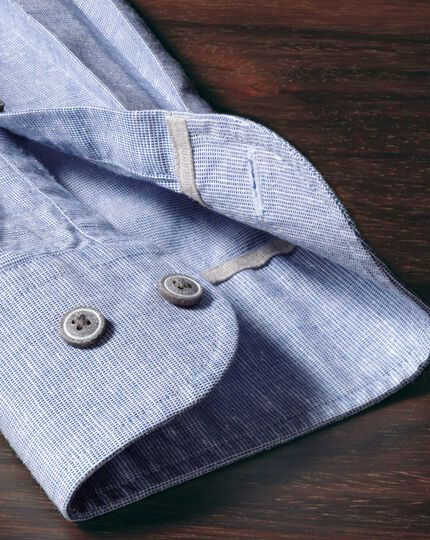 Slim fit slub cotton blue shirt