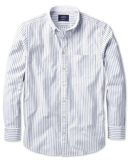 Slim fit grey stripe washed Oxford shirt
