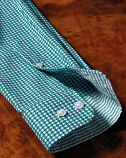 Bügelfreies Extra Slim Fit Oxfordhemd in Grün in Gingham-Karos