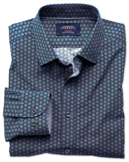 Classic fit blue and green hexagon print shirt