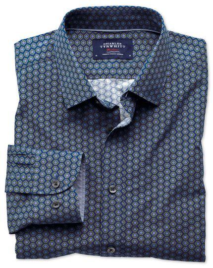 Extra Slim Fit Hemd in blau und grün mit Sechseck-Print