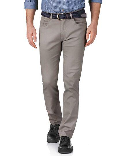 Slim Fit 5 Pocket Pique-Stretch-Hose in Silber