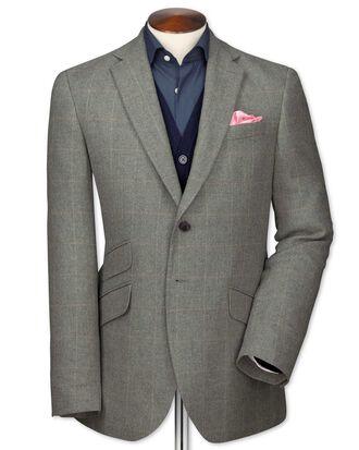 Slim fit grey check luxury border tweed jacket