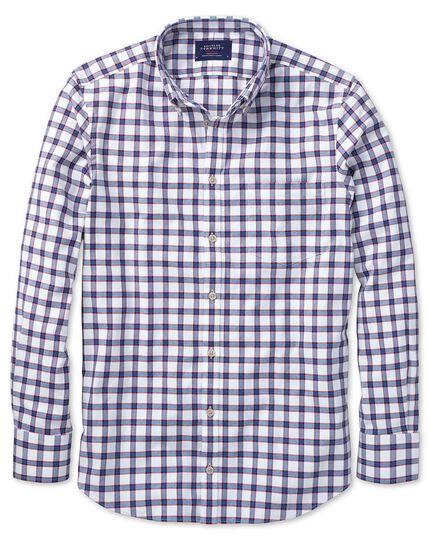 Slim Fit Oxfordhemd in Weiß und Blau mit Karos