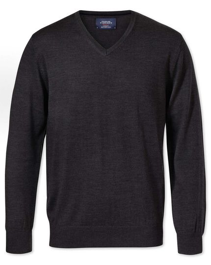 Charcoal merino wool v-neck sweater