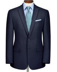 Navy slim fit crowsfoot business suit jacket