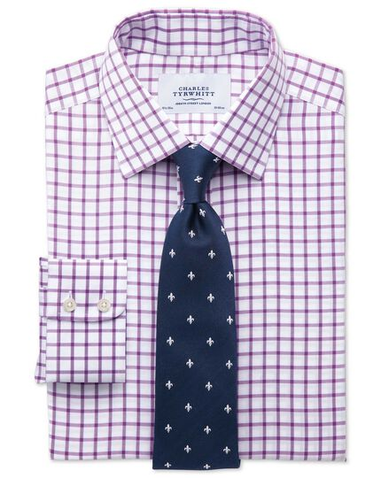 Slim fit non-iron twill grid check purple shirt