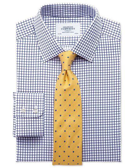 Extra slim fit twill grid check navy shirt