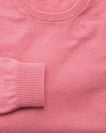 Pink cotton cashmere crew neck jumper