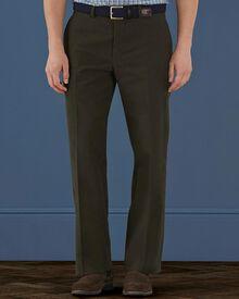 Dark khaki classic fit moleskin trousers