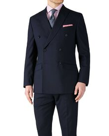 Navy slim fit flannel double breasted business suit jacket