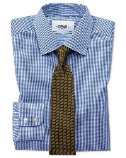 Chemise bleu roi pied-de-poule extra slim fit sans repassage