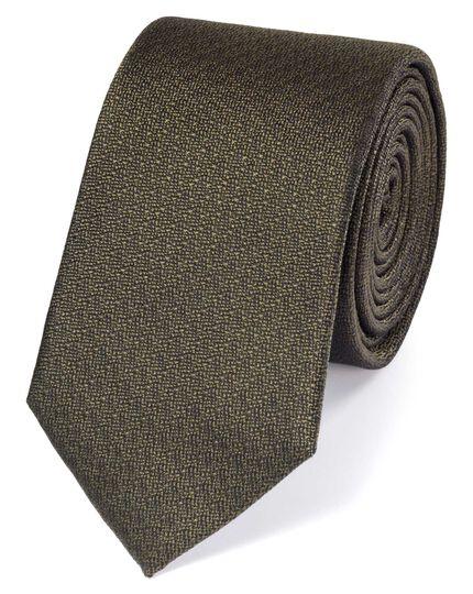 Slim olive silk textured plain classic tie