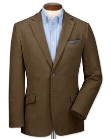 Classic fit camel cotton flannel jacket