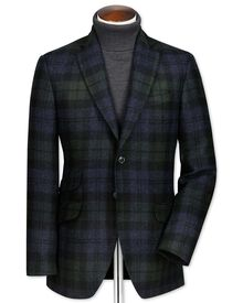Slim fit green and navy check wool jacket