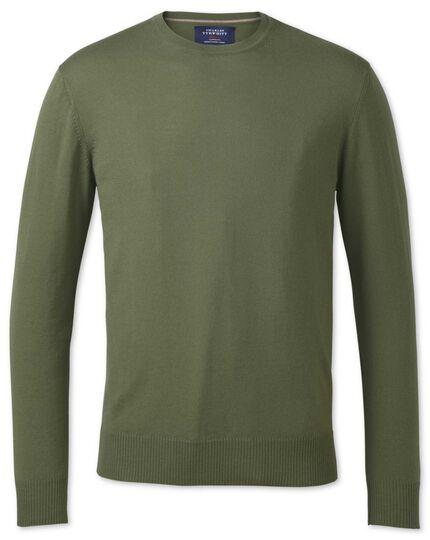 Olive merino wool crew neck jumper