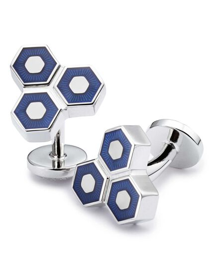 Navy enamel triple hexagon cuff links