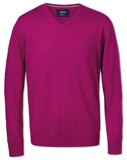 Fuchsia merino wool v-neck sweater