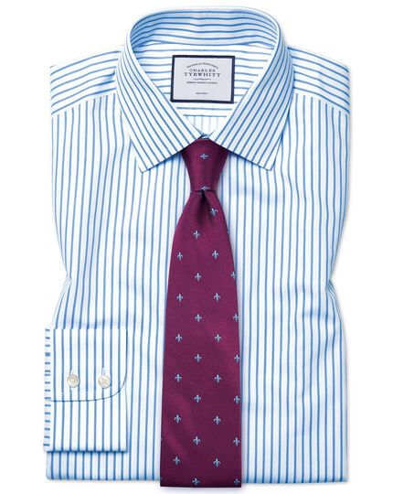 Classic fit non-iron twill stripe white and sky blue shirt