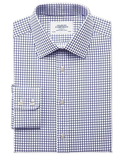 Slim fit twill grid check navy shirt