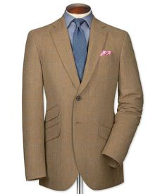 Slim fit tan check luxury border tweed jacket