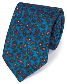 Bright blue silk printed paisley English luxury tie