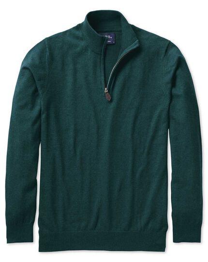 Mid green cotton cashmere zip neck sweater