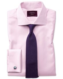 Slim fit semi-spread collar non-iron luxury hairline stripe pink shirt