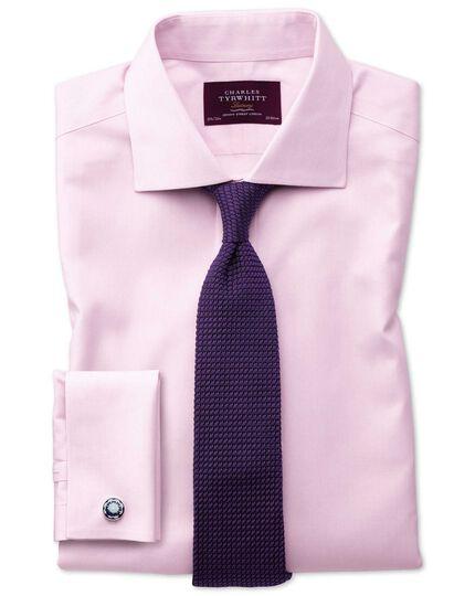 Slim fit semi-spread collar non-iron luxury hairline stripe pink shirt