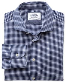 Slim fit semi-cutaway collar business casual oval dobby navy blue and white shirt
