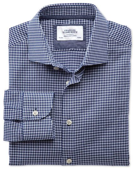 Slim fit semi-spread collar business casual oval dobby navy blue and white shirt