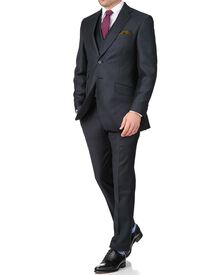 Blue puppytooth slim fit British serge luxury suit